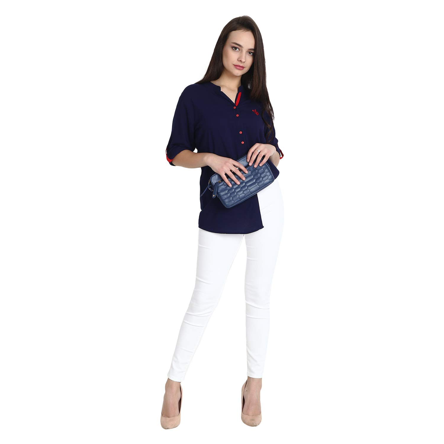 654c6a115f Mitaha Navy Blue Shirt Women Girls Boat Neck Embroidered Rayon Cotton Top/Shirts  for ...